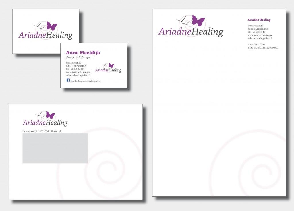 Ontwerp logo en huisstijl bestaande uit: een visitekaartje, enveloppe en briefpapier.